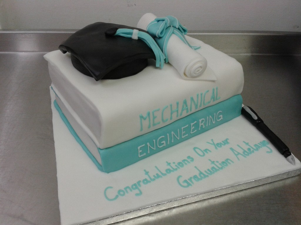 Textbook, Mortar Board and Scroll Graduation Cake