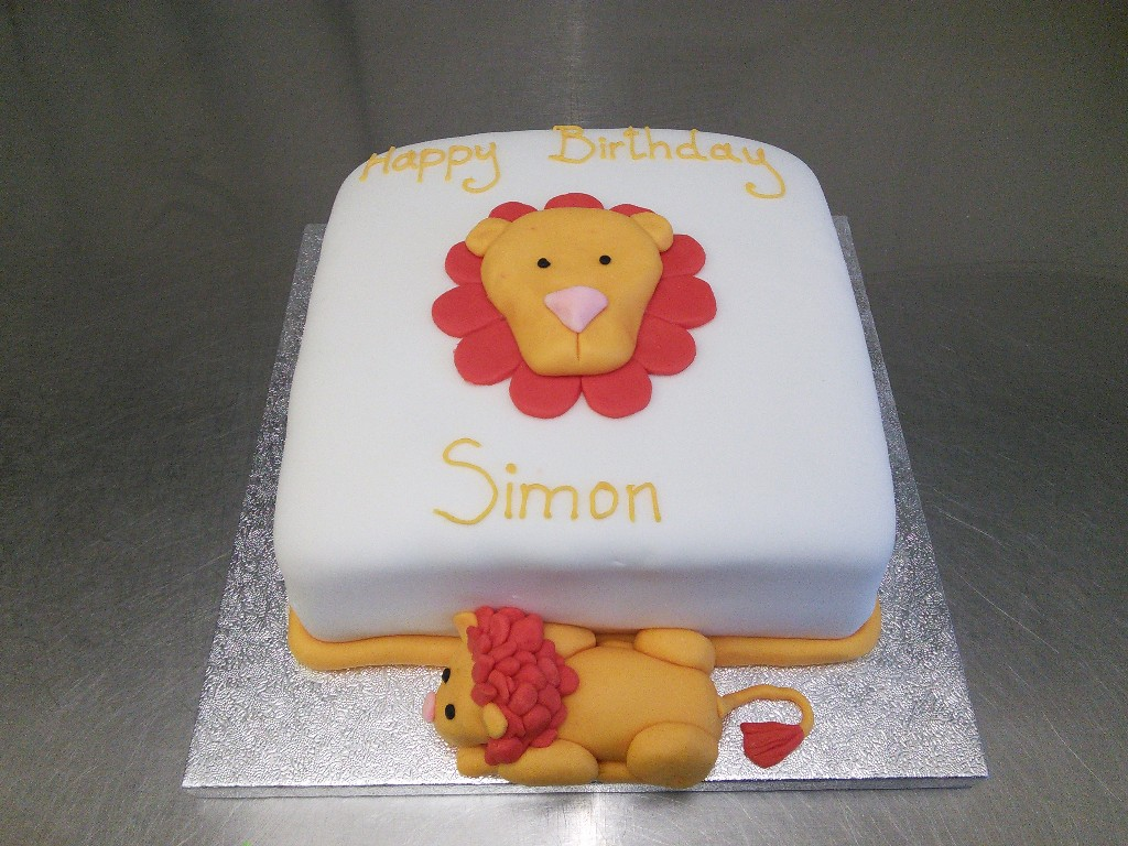 Lion Birthday Cake with 3D Lion Figure