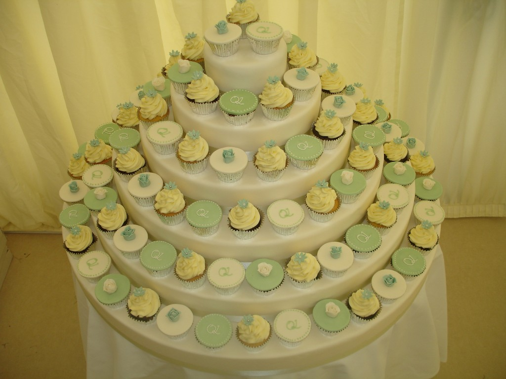 Ivory, Green and Buttercream Wedding Cup Cake Tower