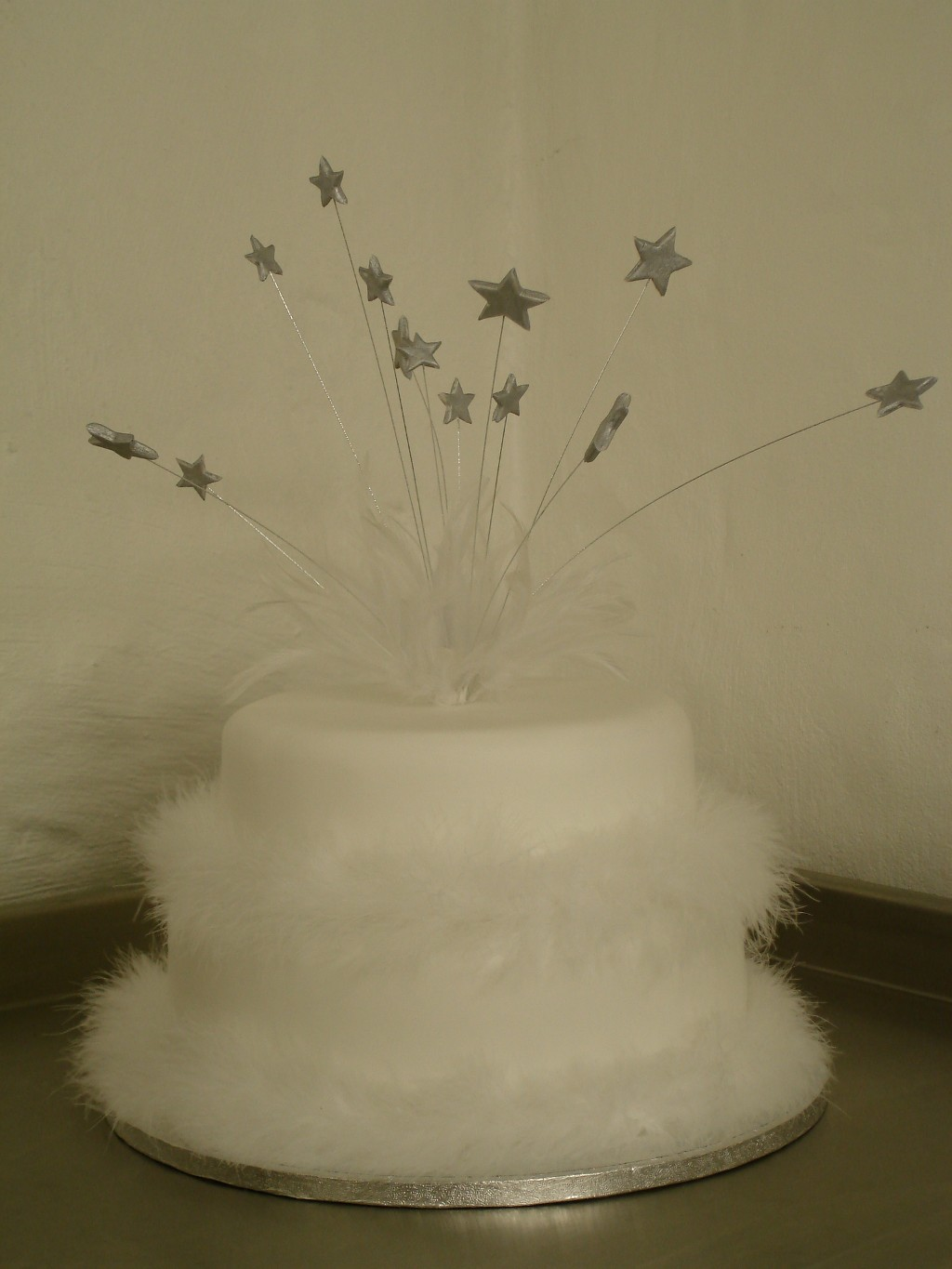 Two Tier, Fluffy White Wedding Cake with Silver Stars