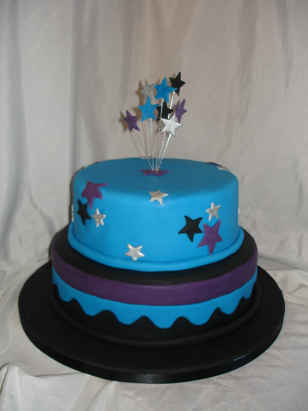 Two Tier Black Blue and Purple Starry Wedding Cake
