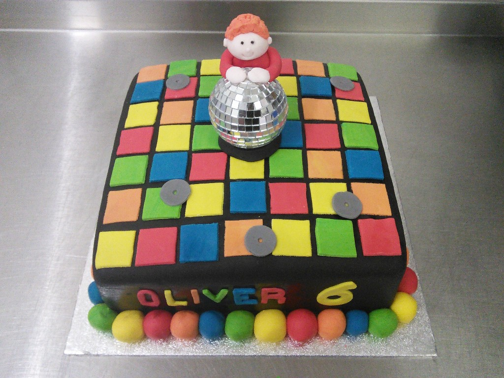 Disco Dance Floor 6th Birthday cake