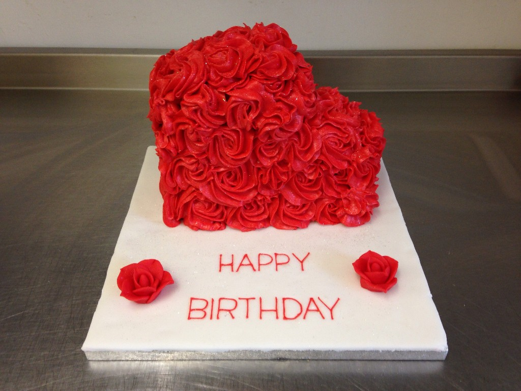 Red Flowery Hearts Shaped cake