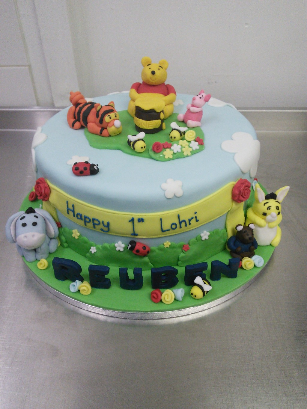 Winnie The Pooh Themed 1st Birthday Cake