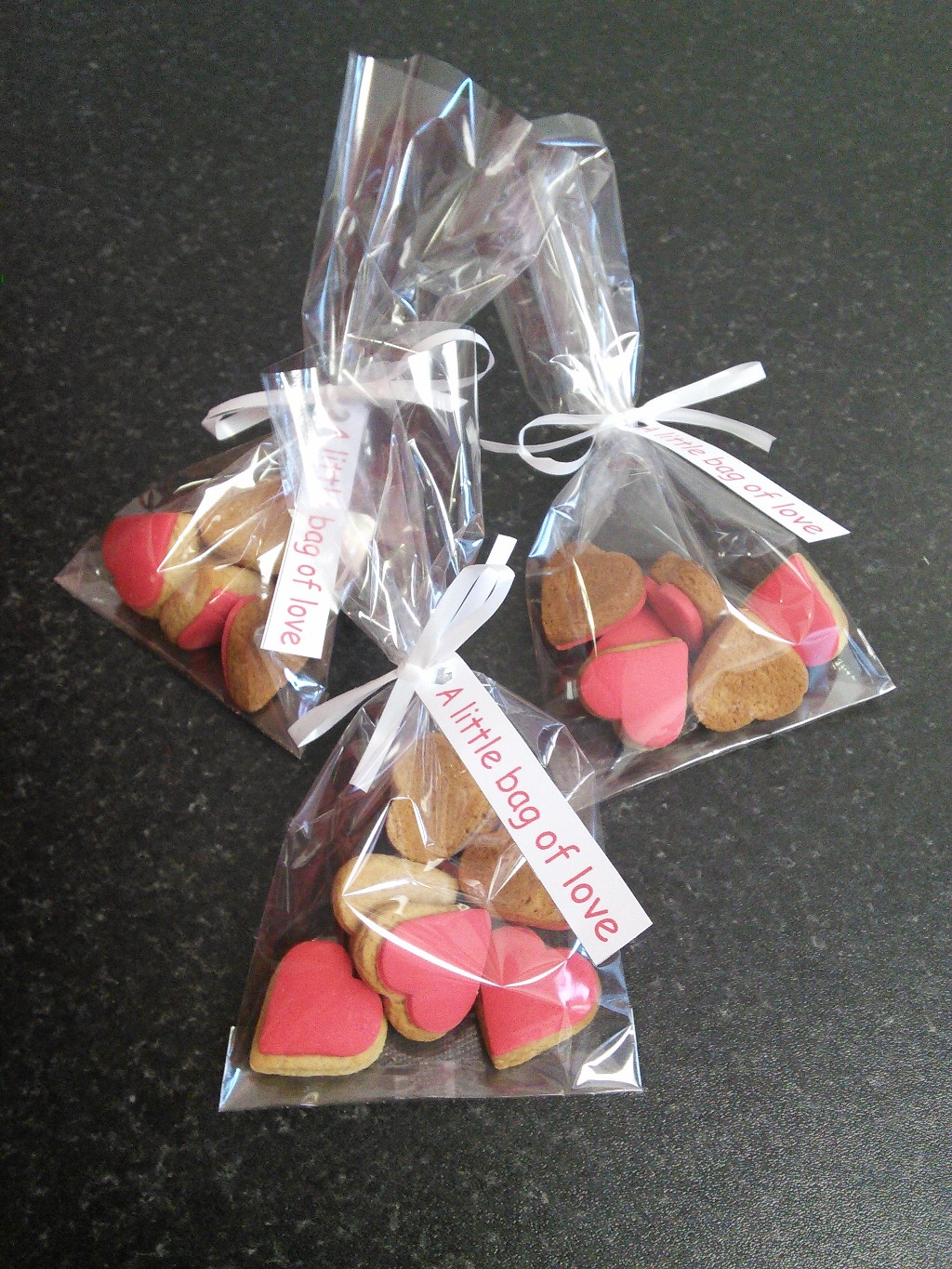 Little Bags of Love Heart Shaped Mini Gingerbread Biscuits