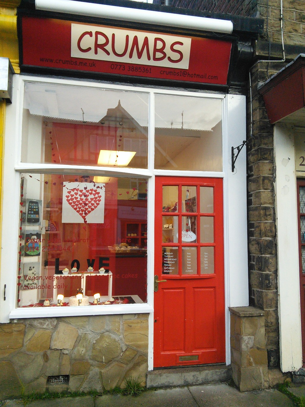 Crumbs Shopfront with Valentines Window Display