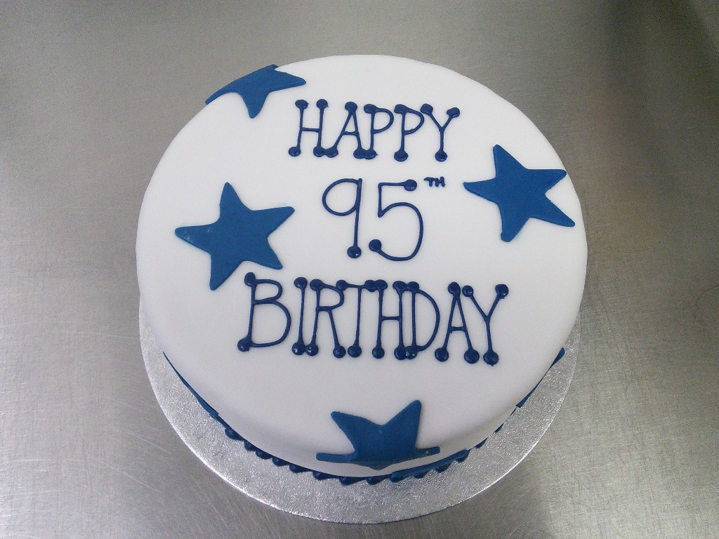 Starry Blue And White 95th Birthday Cake