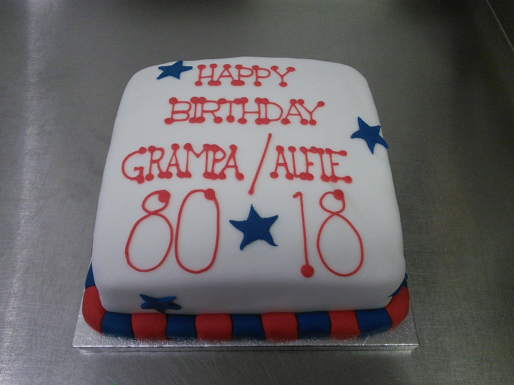 Simple Red and Blue Stars, 80th and 18th Birthday Cake