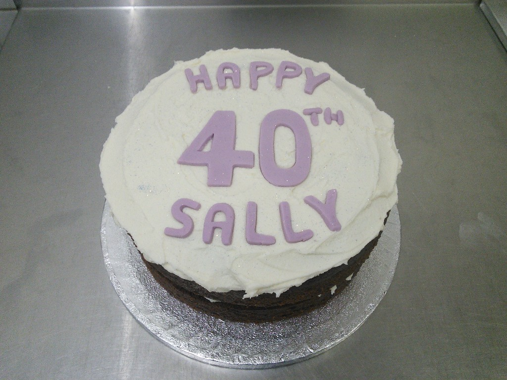 Buttercream with Lilac Writing, 40th Birthday Cake