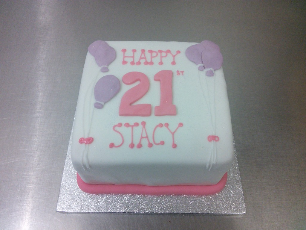 Easy 21st Birthday Cake Decorating Ideas : Simple 21st Birthday Cake, Pink Writing and Lilac Balloons ...
