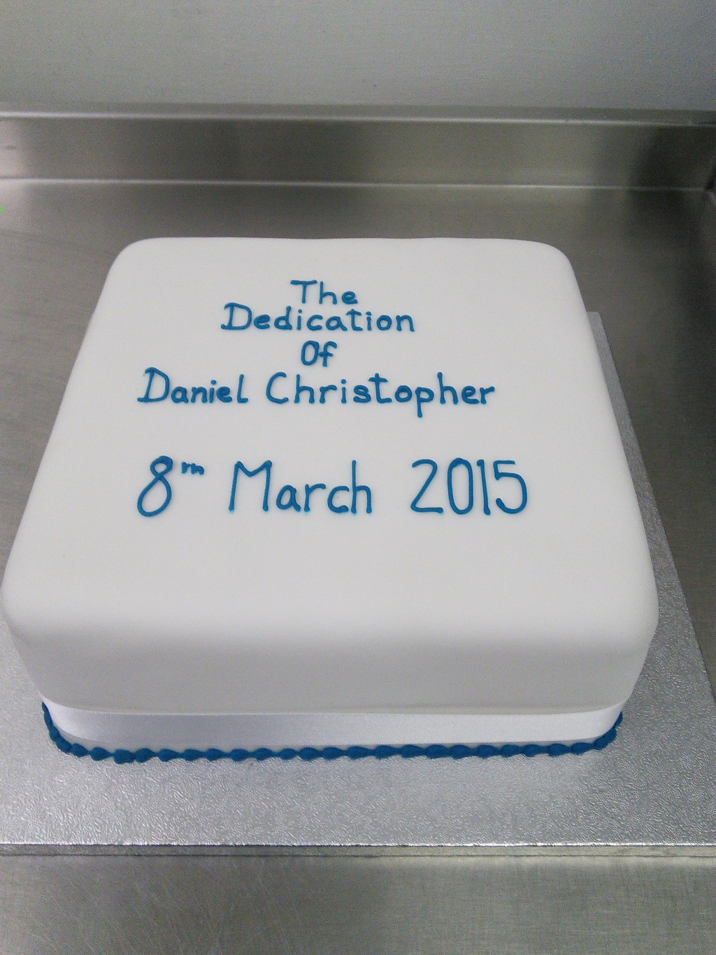 Boys Blue Dedication Cake