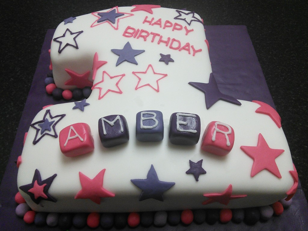 Purpleand Pink Number 1 Birthday Cake