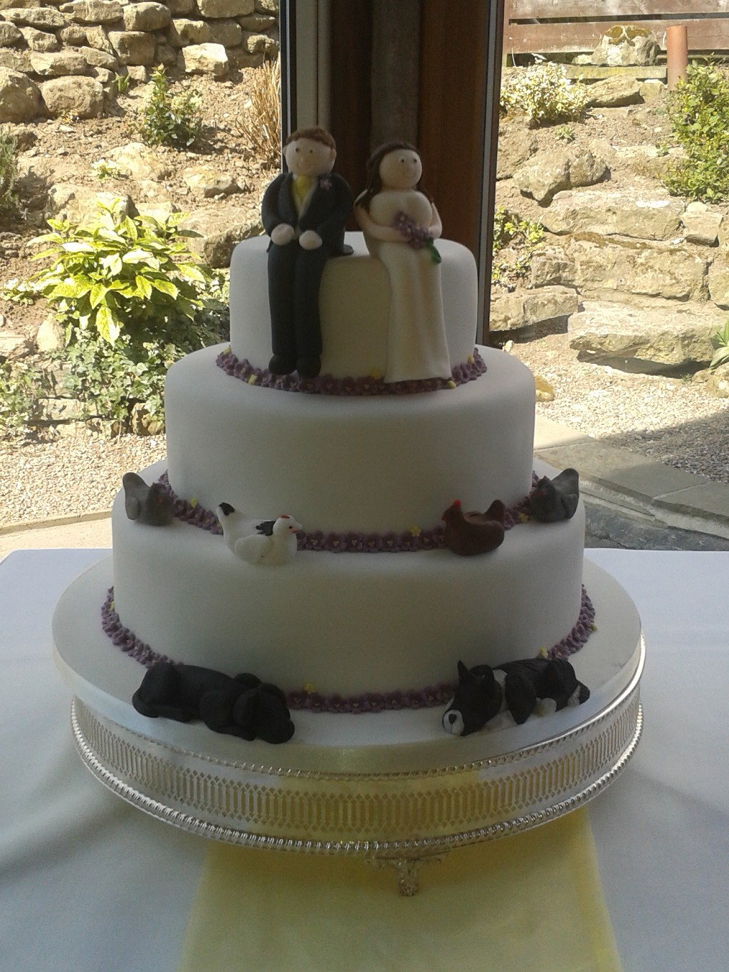 Wedding Cake with Dogs and Chickens