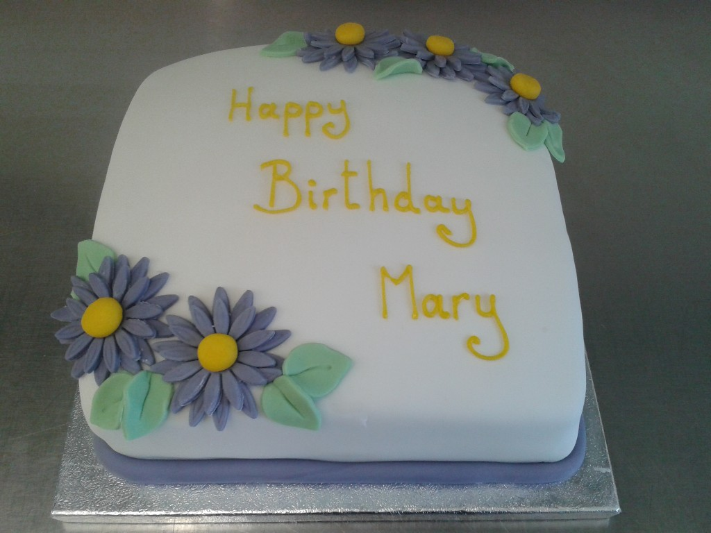 Birthday Cake With Purple Flowers Crumbs Cake Shop Sheffield