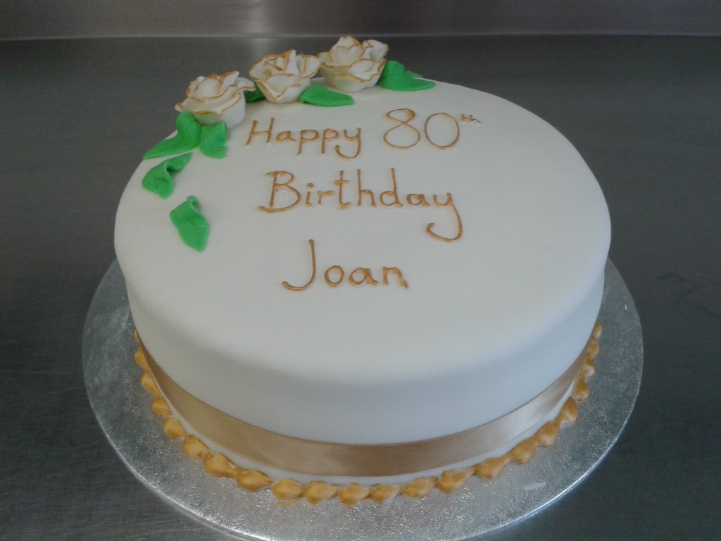 Simple 80th Birthday Cake with Rose Decoration Crumbs ...