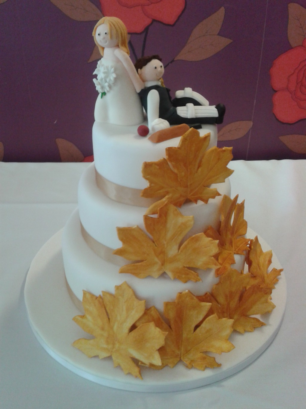 Stacked Three Tier Wedding Cake with Autumn Leaves