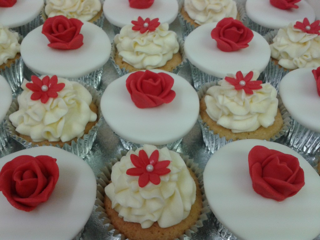 Red And White Flower Cup Cakes Crumbs Cake Shop Sheffield