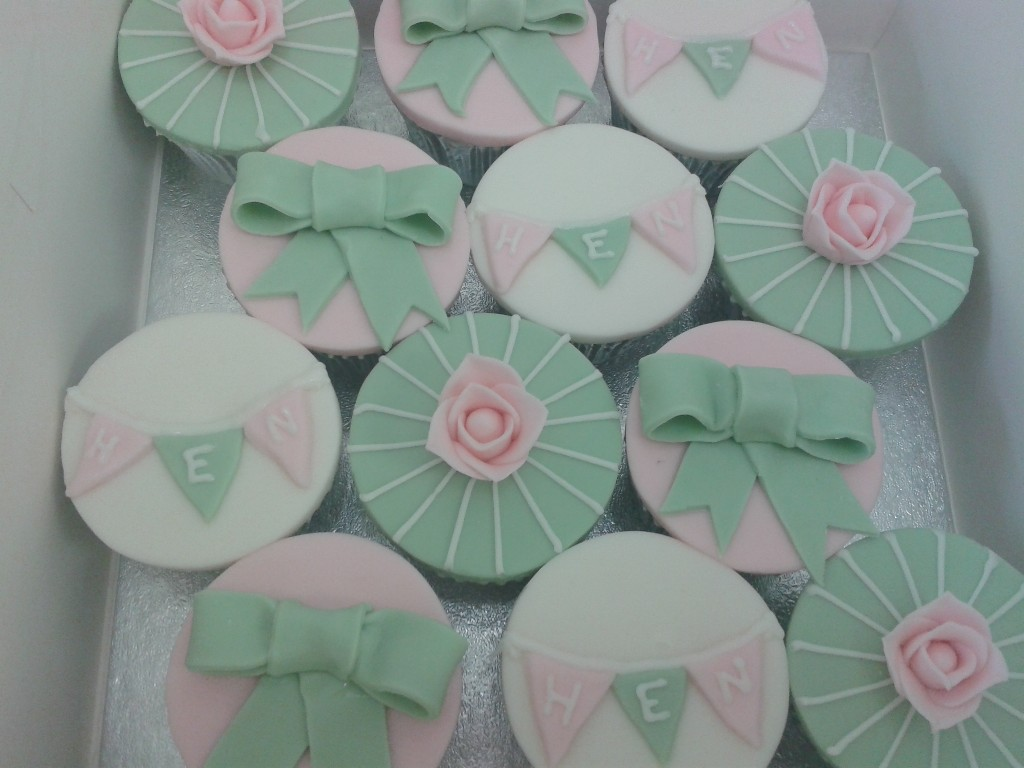 Green and Pink Hen Party Iced Cup Cakes