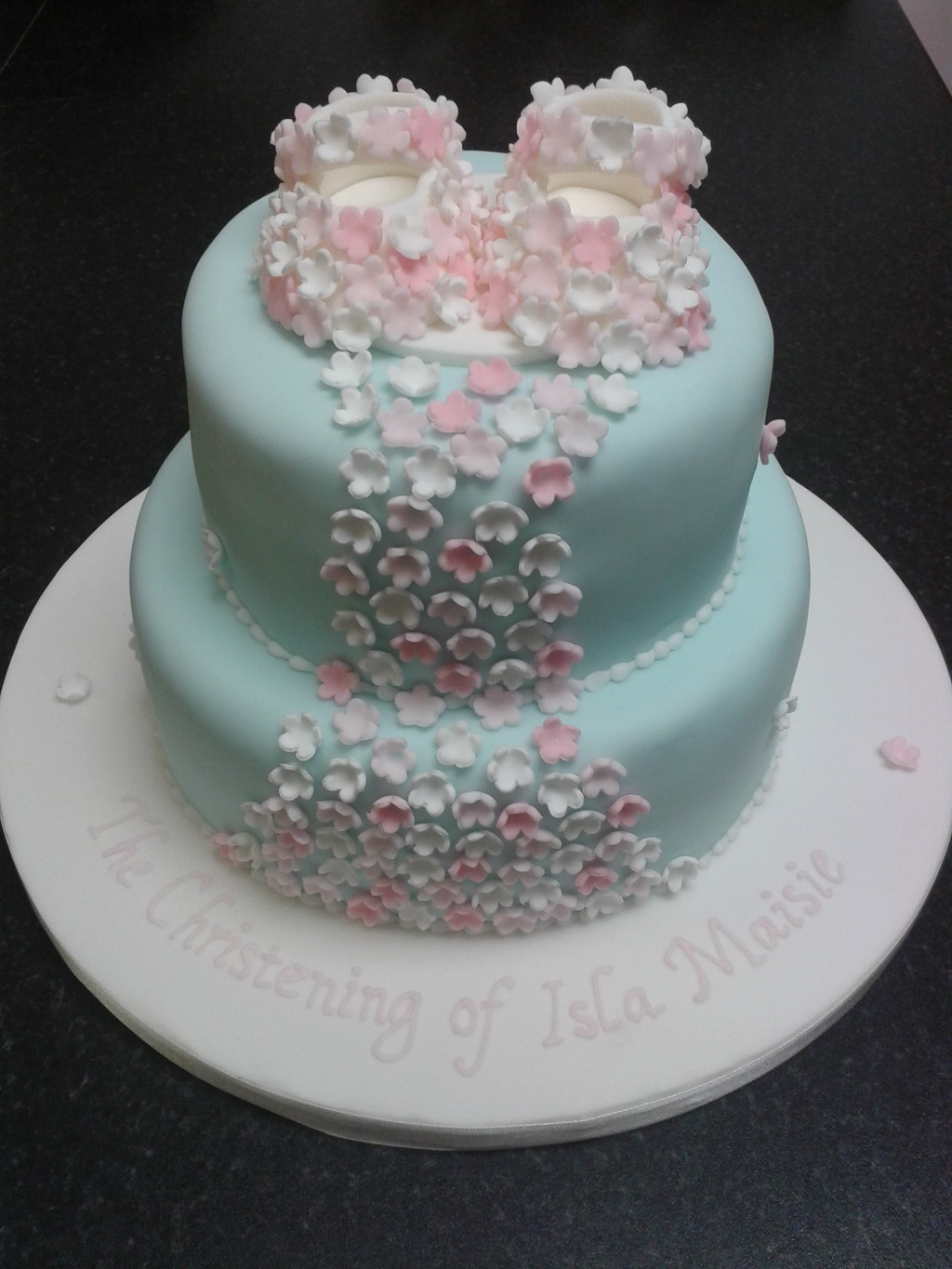 Christening Cake with Blossom Booties