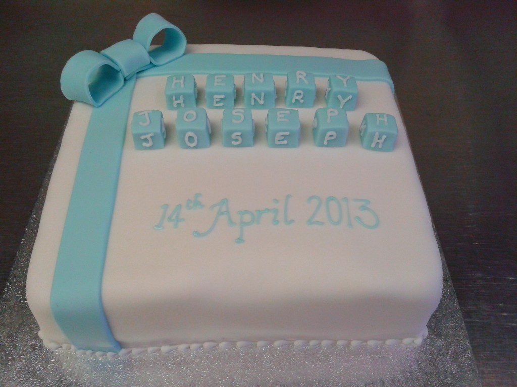 Christening Cake with Alphabet Name Blocks Crumbs Cake ...