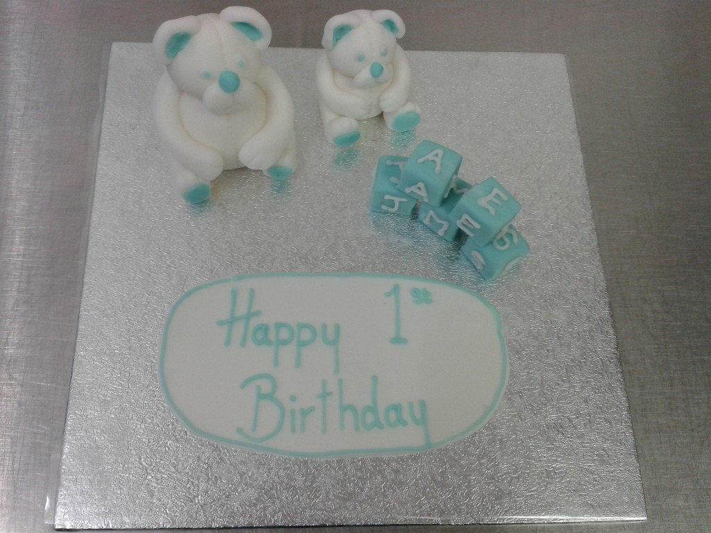 Teddy Bear and Alphabet Name Block Cake Toppers