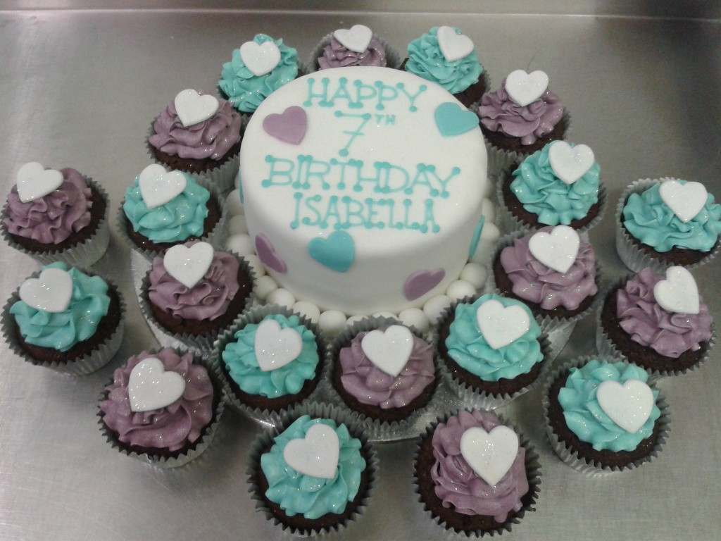 Purple And Blue Buttercream Chocolate Cup Cakes And Birthday Cake