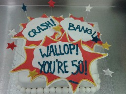 Crash Bang Wallop Explosion 50th Birthday Cake