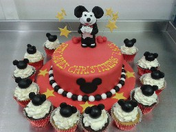 Mickey Mouse Two Tier Birthday Cake and Cup Cakes