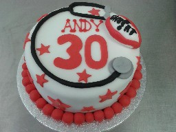 Stethoscope and Rugby Ball 30th Birthday Cake