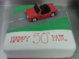Road Trip Convertible Car 50th Birthday Cake