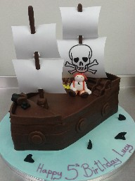 Chocolate Pirate Ship 5th Birthday Cake