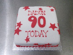 Red Starred 90th Birthday Cake