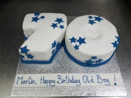Number 70, Blue Starred Birthday Cake