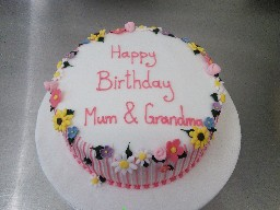 Pink and White Striped, Flowery Birthday Cake