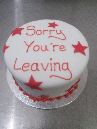 Simple Red Starred Leaving Cake