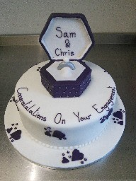 Purple and Silver Engagement Cake