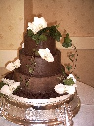 Three Tier Chocolate Ganache Covered Wedding Cake