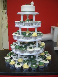 White, Green and Buttercream Wedding Cup Cake Tower