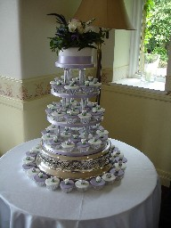 Lilac and White Cup Cake Wedding Tower