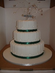 Three Tier White and Green Wedding Cake with Edible Diamantes