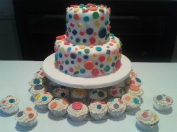 2 Tier Button Themed Wedding Cake