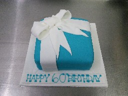 Simple Teal with White Box 60th Birthday Cake