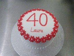 Simple Red Flowery 40th Birthday Cake