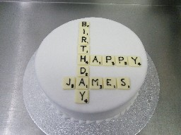 Scrabble Tiles Birthday Cake
