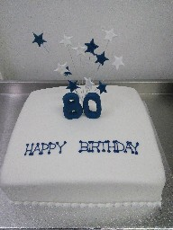 Simple 80th Birthday Cake with Stars on Wires