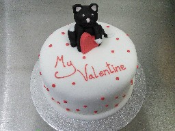 Valentines Day Cake with Cat Figurine