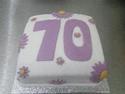 70th Flowery Birthday Cake