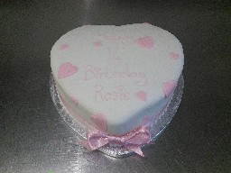 Heart Shaped Baby Pink 14th Birthday Cake