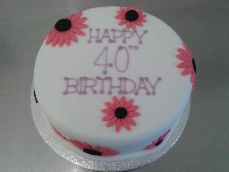 Large Red Flowery 40th Birthday Cake
