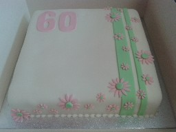 pink and Green Flowery 60th Birthday Cake